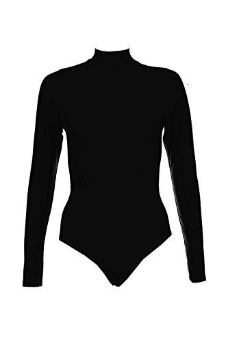 Noir Femmes Jody Body Col Montant Près Du Corps À Empiècement Noir