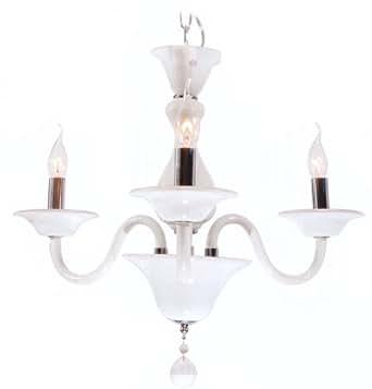 Lampadario in Vetro colorazione Bianco latte E14 3x40W 220-240V ...