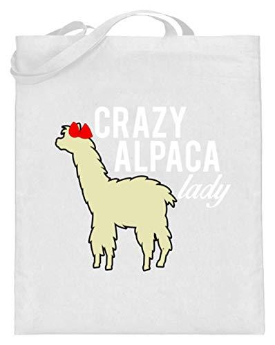 Crazy Alpaca Lady - Alpaca mit Blume - Jutebeutel (mit langen Henkeln)