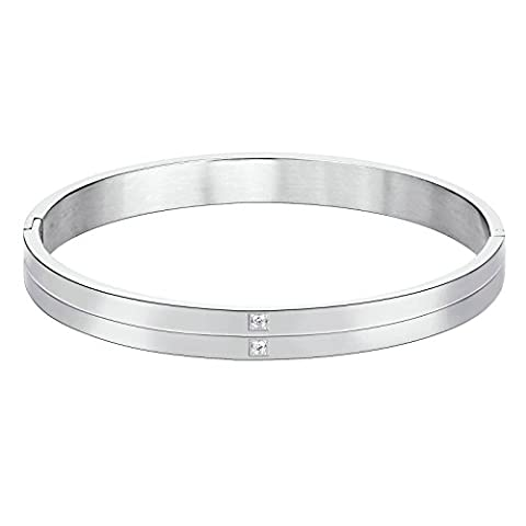 KnSam Stainless Steel Cuff Bracelets for Mens Double Bar with