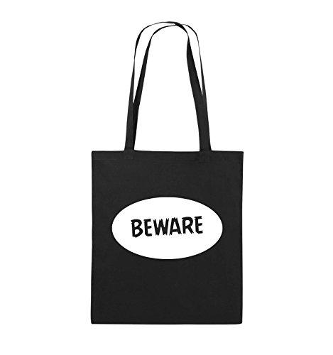 Beware Comedy Jutebeutel Schwarz lange Schwarz 38x42cm Weiss Farbe Bags Henkel Pink qaq6F1r