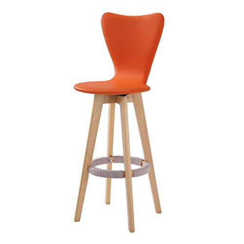 Guo shop- Simple, bois massif, peut être tourné en cuir artificiel coussin Bar Creative chaise haute style européen chaise en bois Vintage tabouret de bar hauteur 71 cm Bonne chaise