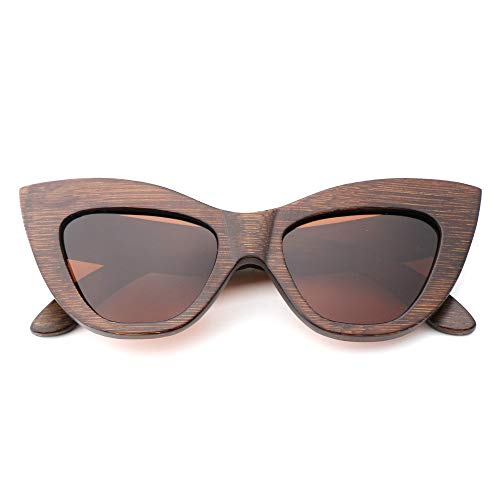 XIAOCUNAN Bambus Holz Brille Damenmode Cat Eye Sonnenbrillen handgemachte natürliche Umwelt polarisierte Spiegel Sonnenbrillen
