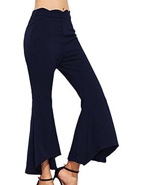 Vosujotis Mujer Casual Pantalones Pitillo De Cintura Alta Pantalones De Campana De Fondo