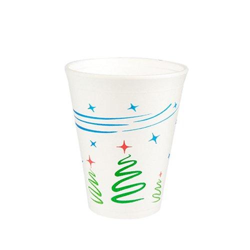 "50 Thermobecher, EPS 0,25 l Ø 8,5 cm · 10,2 cm weiss ""Weihnachtsbaum"" Styroporbecher Becher Glühwein Punschbecher Tee Winter"