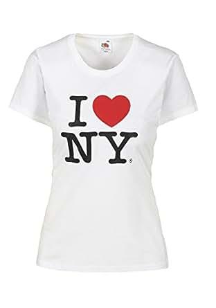 I Love NY T-Shirt Damen Herz Shirt weiblicher Schnitt verschiedene Farben hochwertiger Druck. Damentop mit Love Motiv Weiss Größe XS 100% Baumwolle