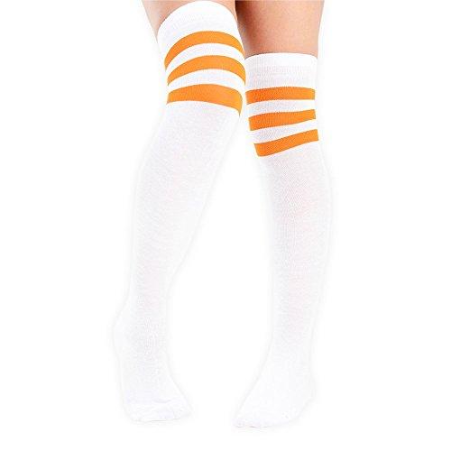 adam & eesa Damen Overknee-Strümpfe mit drei Streifen am Knie, Schiedsrichterstrümpfe, Sportstrümpfe, Kostüm-Strümpfe White with orange - Kostüm Schwarzen Und Weißen Streifen