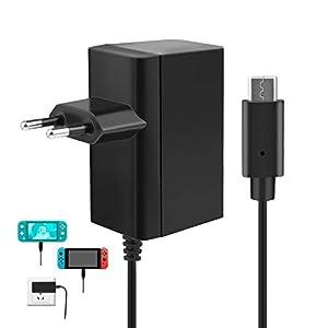 Ladegerät für Nintendo Switch/ Switch Lite, innoAura Type-C AC Adapter Schnellladefunktion mit 1,8m Kabel 15V 2.6A Unterstützt TV Modus und Dock&Pro Controller (Schwarz)