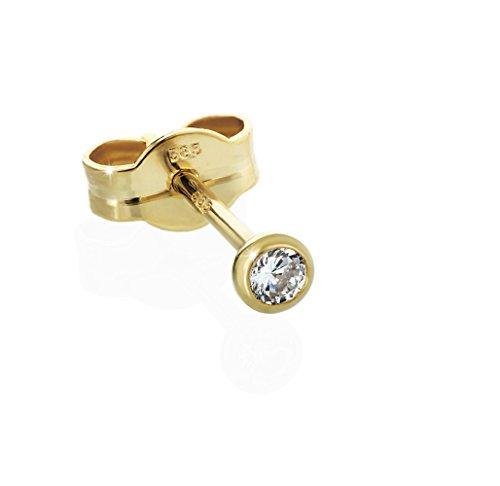 Nklaus, orecchino a buco, singolo, in oro 585 e zirconi cubici, per donna, uomo, bambino. e Oro giallo, cod. 2064