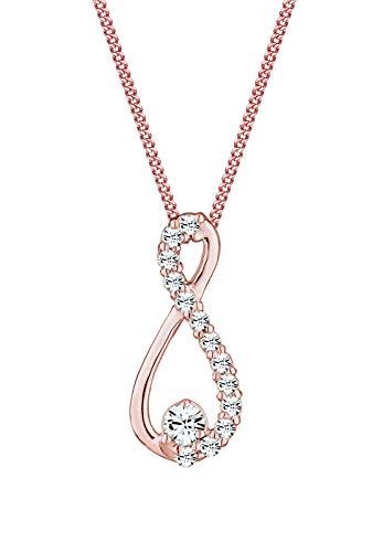 Elli Damen-Kette mit Anhänger Infinity Unendlichkeit Silber vergoldet Kristall - 45cm Länge
