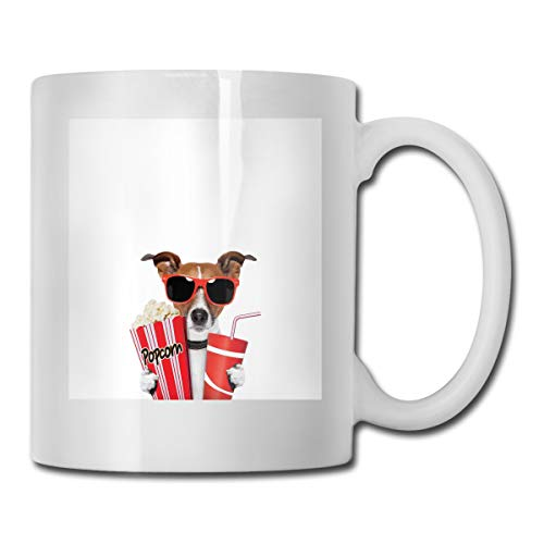 Jolly2T Funny Ceramic Novelty Coffee Mug 11oz,Funny Dog Wearing Sunglasses Watching A Movie with Popcorn and Soda Print,Unisex Who Tea Mugs Coffee Cups,Suitable for Office and Home