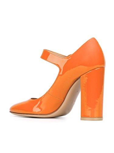EDEFS 10CM Damen Blockabsatz Pumps Runde Zehe Mary Jane Halbschuhe Orange
