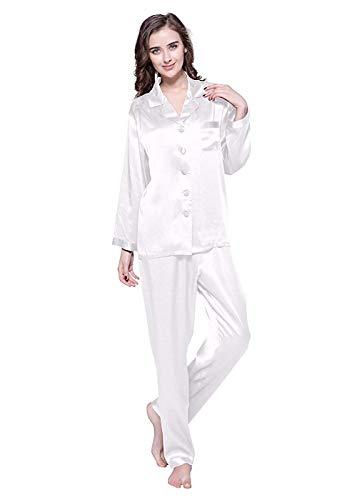 302c62110dc889 LilySilk Elegante Seide Nachtwäsche Schlafanzug Pyjama Damen Lang Hausanzug  16 Momme (M, Natur)