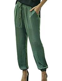 Watopi Femme Pantalon -Casual Taille Haute avec Cordon De Serrage Élastique  Sarouel Pantalon Rayé Pantalon 9fff99b320b
