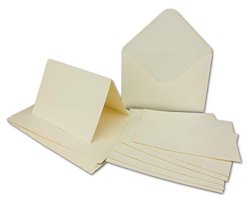 50 x Doppelkarten - Umschlag - Set DIN A6/C6 - Creme-weiß - Karte DIN A 6-10,5 x 14,8 cm - 240 g/m² mit Brief-Umschlägen DIN C6-11,3 x 16,0 cm - 120 g/m² Nassklebung