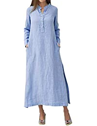 VJGOAL Camisa Extragrande de algodón Casual de Manga Larga para Mujer Falda Elegante y Fresca en