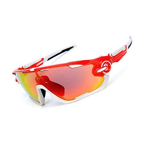 AmDxD PC Radsportbrille Polarisierte Sonnenbrille Brillenträger Schutzbrillen Fahrradbrille 3 Linsen für Motorrad Fahrrad Helmkompatible, Rot Weiß
