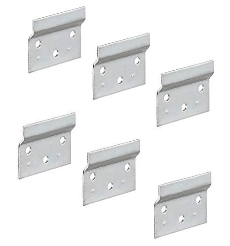 Gedotec Trägerplatte Schrankhalter Aufhängeschiene zum Schrauben für Schrankaufhänger | Länge 60 mm | Wandschiene für Schrankaufhänger | Stahl verzinkt | 6 Stück