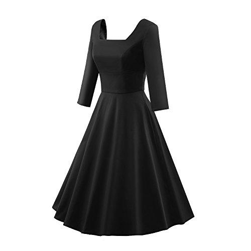 iLover Damen Abendkleid Squard Neck 3/4 Ärmel Cocktailkleid Retro Rockabilly 1950er Jahre Party swing Kleid Schwarz