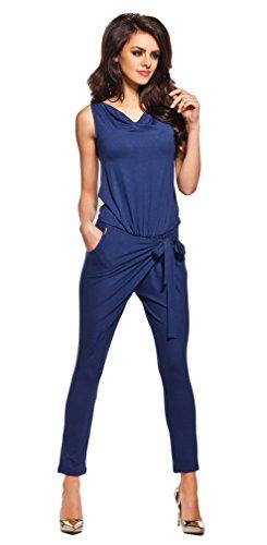 Lemoniade stylischer Jumpsuit ohne Ärmel mit elegantem Wasserfallkragen, navy, Gr. M -