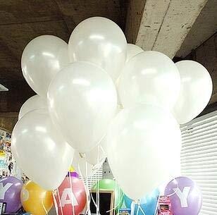 ZJWDM 100 Stücke Multicolor Pearlized Latex Luftballons Einfarbig 10 Zoll Perle Latex Luftballons Hochzeit Dekorationen1,5G Globen Liefert Weiß