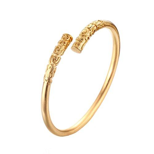 HIJONES Herren Edelstahl Antikes Buddhistische Offene Manschette Armreif Armband Männlich Gold