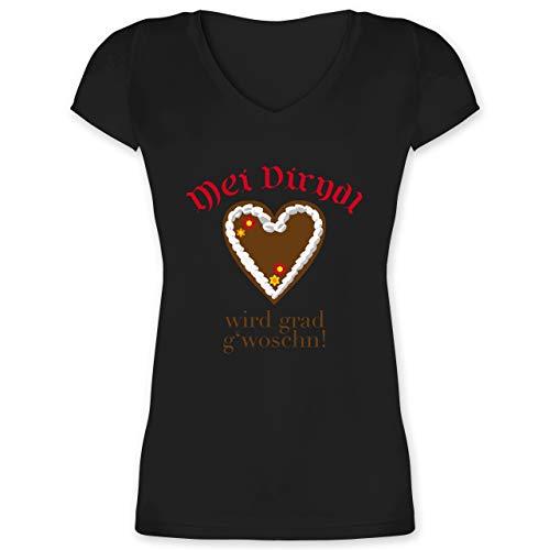 Oktoberfest Damen - Dirndl Wird g'woschn - Shirt statt Dirndl - 3XL - Schwarz - XO1525 - Damen T-Shirt mit V-Ausschnitt -