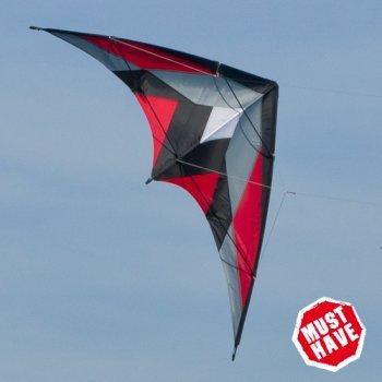 CIM Lenkdrachen - Katana MUSTHAVE Red - Kite für leichten bis kräftigen Wind - Abmessung: 170x90cm - inkl. Steuerleinen auf Rollen