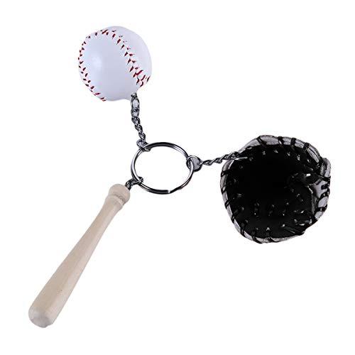 Winwinfly 1 Stück Pom Pom Ball Keychain Baseball Anhänger Schlüsselanhänger Auto Tasche Zubehör,Schwarz