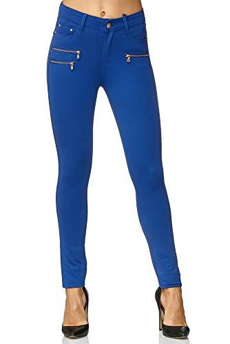 Elara Damen Stretch Hose | Skinny Jegging | Slim Fit | Chunkyrayan H86-16 Royal Blue 40 (Royal Blau Leggings)