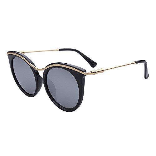 Syanuagit-glasses Persönlichkeit Retro Cat Eyes Lady polarisierte Sonnenbrille umrandeten TR90 UV-Schutz für das Fahren im Freien Eyewear für Frauen, die im Freien Fahren (Farbe : Silber)
