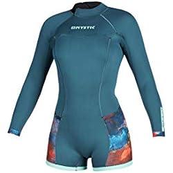 Mystic Sports Nautiques - Surf Kitesurf et Planche à Voile Femmes Diva à Manches Longues de 2mm Back Zip Shorty Wetsuit - Teal