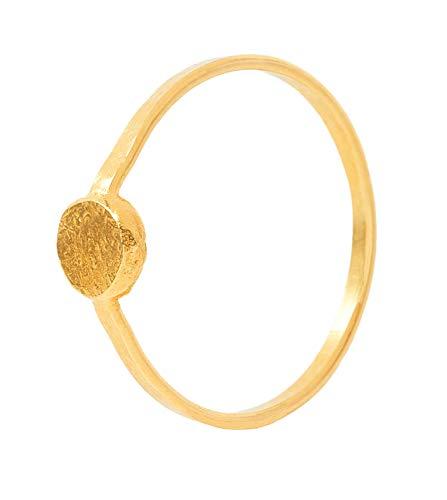 Charlotte Wooning Damen Ring Ancient Flat Ball Gold Mini Plättchen Gehämmert Silber Vergoldet RAFBg-54