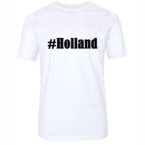 T-Shirt #Holland Hashtag Raute für Damen Herren und Kinder ... in den Farben Schwarz und Weiss Weiß