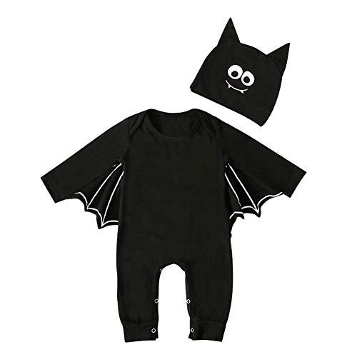 Aus Der Unterwelt Kostüm Mädchen - GLXQIJ Halloween Kostüme Für 0-1 Jahre Altes Baby, Jungen Mädchen Cosplay Kostüm, Fledermaus Strampler Overall Tops Hut Outfits,D,100