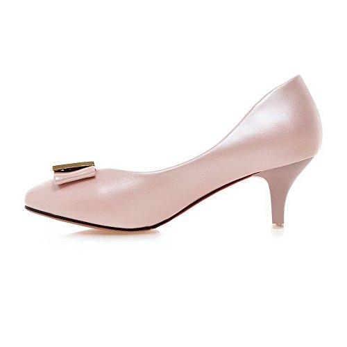 AgooLar Damen Ziehen Auf Rund Schließen Zehe Mittler Absatz Pu Leder Rein Pumps Schuhe Pink