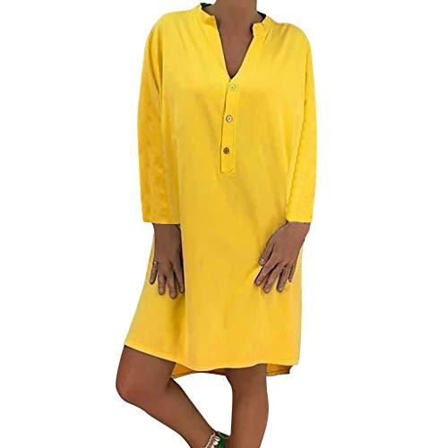 Damen Plue Größe Lose Solide Langarm Baumwolle Leinen Knielanges Kleid Langärmeliges, Einfarbiges Kleid In Übergröße Mit Losem Knopf