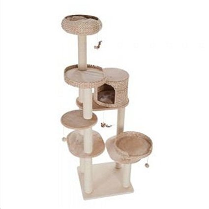 Natural Home Arbre à chat multi-niveaux élégant avec tressage et