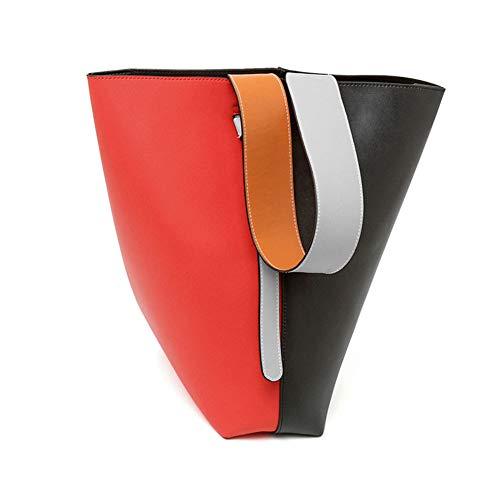 Damen-Eimer-Schultertasche, Breite Schultergurt-Handtasche, Große Mode-Ledertasche, Designer-Modelle, Farblich Passende Buchstaben Packung,D,L