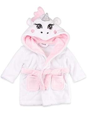 Babytown Baby Bademantel weiß rosa | Motiv: Einhorn | Bademantel mit Kapuze für Neugeborene & Kleinkinder | Größe: