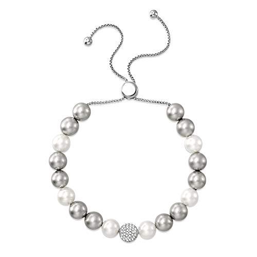 GEORGE SMITH ❤️Geschenke für Mama❤️Für Immer Eleganz Frauen Weiße Shell Perlen Armband Infinity Armbänder Hochzeit Schmuck Braut Kollektion Frauen Mädchen Freundin Mutter (Armreif Perle Armband)