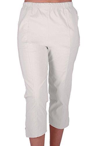 EyeCatchClothing Cora Damen Stretch Capri Crop Shorts Capri-Hose Pants der Frauen 3/4 Dreiviertelhose White Gr. 48 Capri Crop Hose