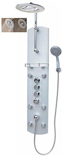 Thermostat Duschpaneel Brausepaneel Duschsäule Duschsystem große Wasserfall Regendusche runde Regenwald Dusche mit 6 Massagedüsen aus Aluminium Handbrause Duschkopf Duscharmatur Wand und Eckmontage