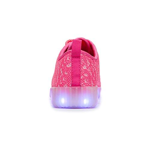 AFFINEST Unisex-Kinder Schuhe LED Light Up Schuhe Atmungsaktives Mesh-oberfläche Sneakers 7 Farben USB Charging Rosa