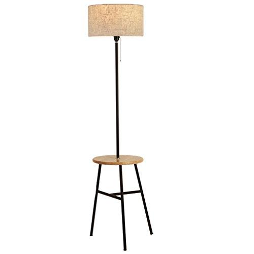 Moderne LED lampadaire en bois massif protection des yeux étagère table basse trépied lampadaire, design minimaliste maison en métal chambre salon tissu art lampadaire (noir + couleur naturelle + beige) LI CHUANG XIN
