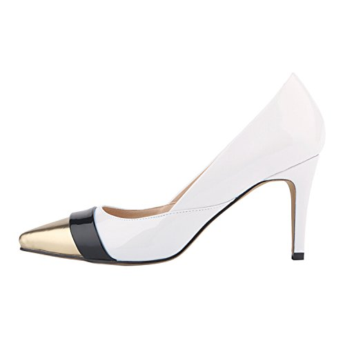 Azbro Women's Color Block Pointed Toe Stiletto Heel Pumps White