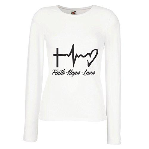 lepni.me Weibliche Langen Ärmeln T-Shirt Glaube - Hoffnung - Liebe - 1. Korinther 13:13, christliche Zitate und Sprichwörter, religiöse Sprüche (Small Weiß Mehrfarben)