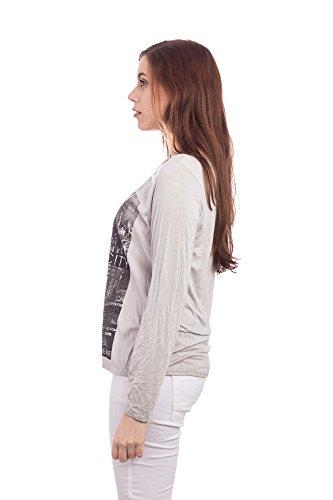 Abbino 12968-1 Damen Shirts Tops - Made in Italy - 4 Farben - Damenshirts Damentops Übergang Herbst Frühling Sommer Ladies Freizeit Lässig Festlich Sale Sexy Klassisch Lange Langarm Bedrucken Grau (Art. 12968-1)