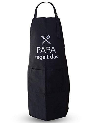 EliXito® Grillschürze für Männer lustig - Geschenk für Männer Vatertag & Geburtstag - Belastbar & pflegeleicht - Lustige Kochschürze und Küchenschürze schwarz