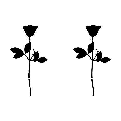 GreenIT Rose 10cm Auto Fenster Spiegel Aufkleber Tattoo die Cut Decals Vinyl Selbstklebende Deko Folie Depeche Mode (2 Stück schwarz)